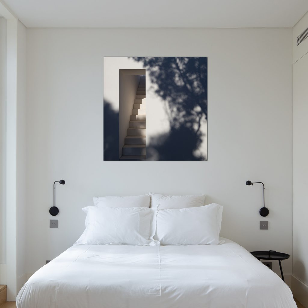 Wall decor with photograph of contemporary architecture