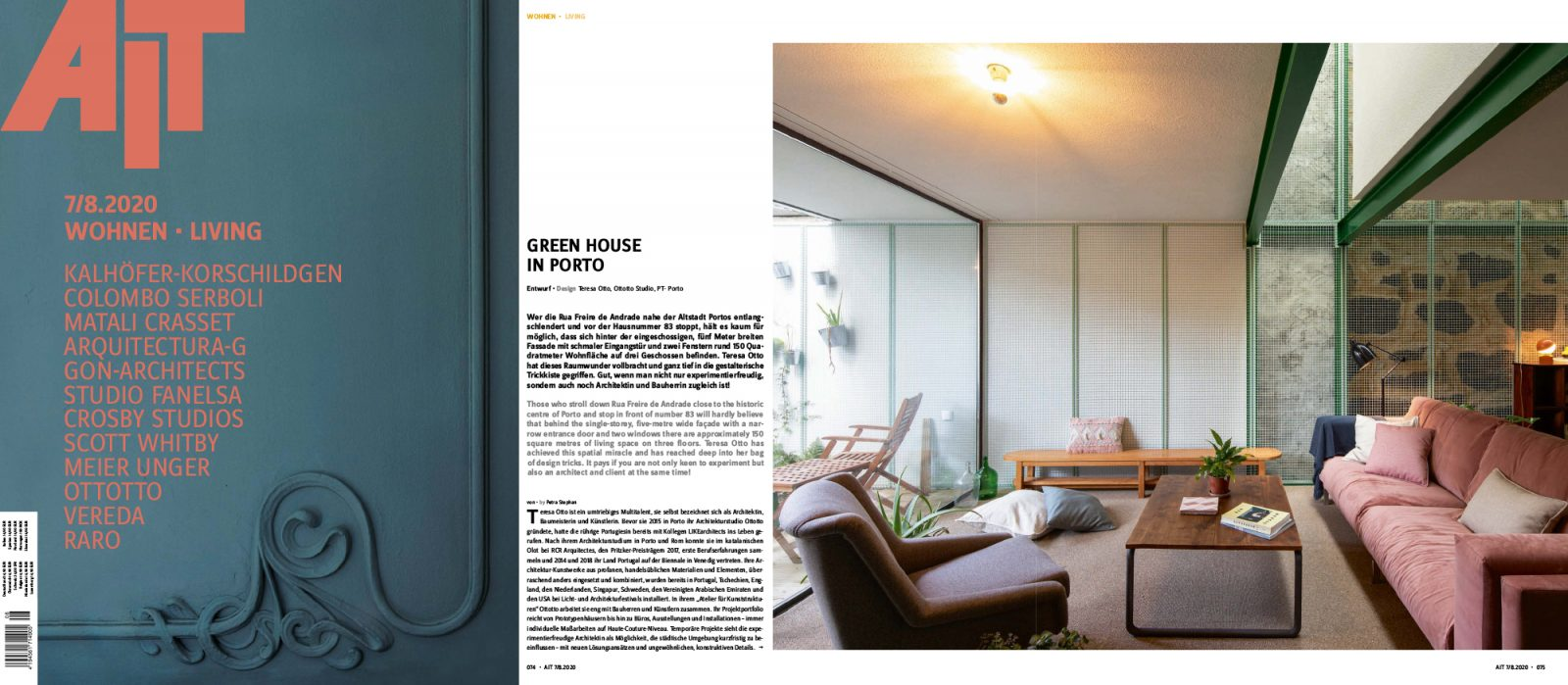 Magazine spread about Green House