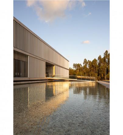 Building facade with water mirror